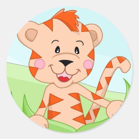 Tiger in grass round sticker