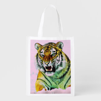 Tiger in Pink Reusable Grocery Bag