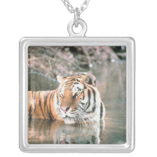 Tiger in stream silver plated necklace