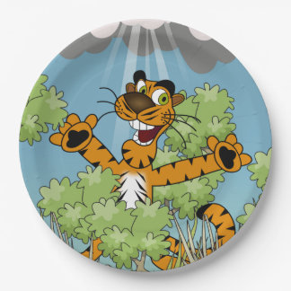 Tiger in the Bushes Paper Plate