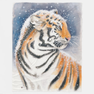 Tiger In The Snow Fleece Blanket