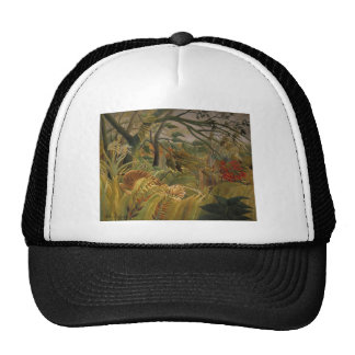 Tiger in tropical storm trucker hat