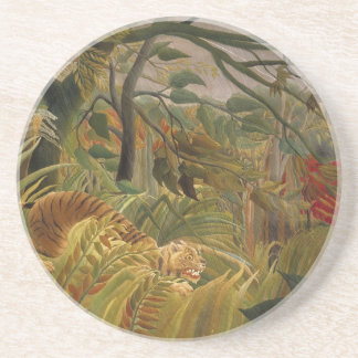 Tiger in tropical storm coasters