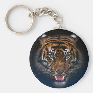 Tiger Basic Round Button Key Ring