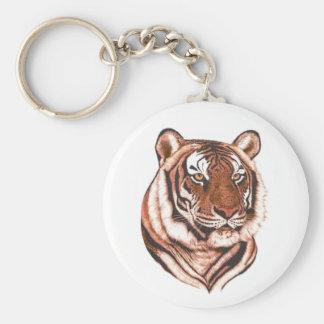 Tiger Keychain-White Basic Round Button Key Ring