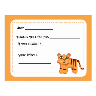 Tiger -Kids thank you card Post Card
