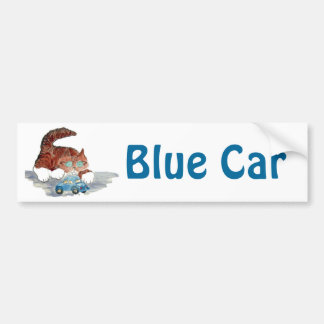 Tiger Kitten and the Blue Toy Car Car Bumper Sticker