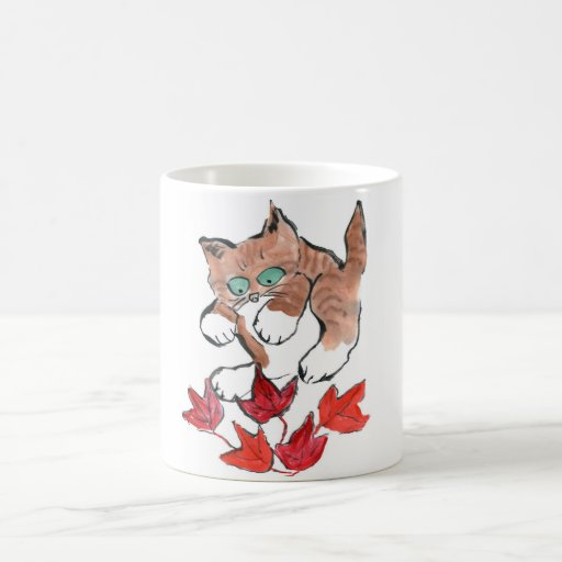 Tiger Kitten is about to Pounce on 5 Maple Leaves Mugs