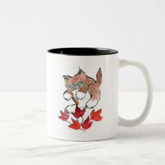 Tiger Kitten is about to Pounce on 5 Maple Leaves Two-Tone Mug