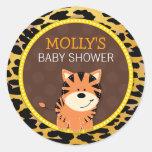 Tiger Leopard Print Jungle Baby Shower Favour Round Sticker