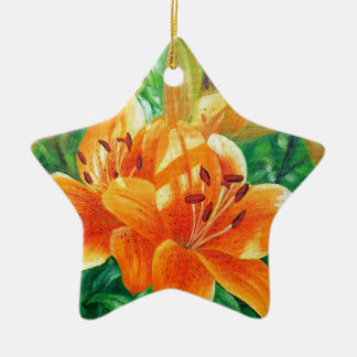 Tiger lilies ceramic star decoration