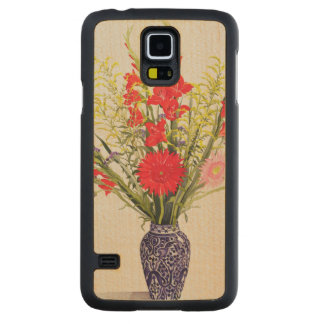 Tiger Lilies Gladioli and Scabious in a Blue Carved Maple Galaxy S5 Case