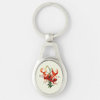 Tiger Lilies Silver-Colored Oval Metal Keychain