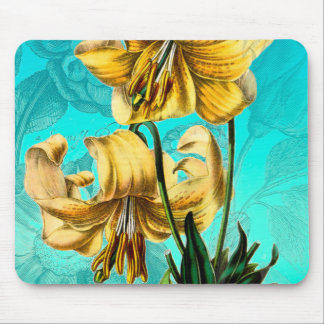 Tiger Lilly on Blue Mouse Pad