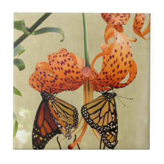 Tiger Lily and Monarchs Small Square Tile