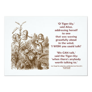 Tiger-Lily Can Talk Worth Talking To (Wonderland) 13 Cm X 18 Cm Invitation Card
