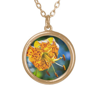 Tiger Lily on Blue Bokeh Necklace