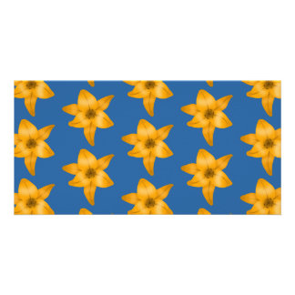 Tiger Lily Pattern on Blue. Customized Photo Card