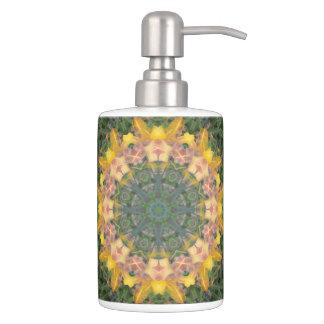Tiger Lily Soap Dispenser/Toothbrush Holder Set