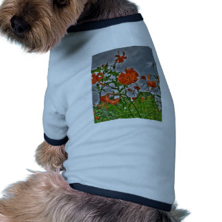 Tiger Lilys and Cloudy Skies Dog T-shirt
