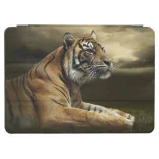 Tiger looking and sitting under dramatic sky iPad air cover