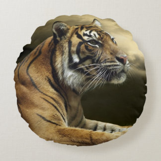 Tiger looking and sitting under dramatic sky round cushion