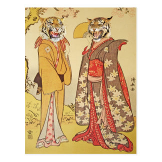 Tiger Man and Wife Japanese Print Couple Postcard