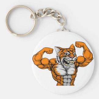 Tiger Man Mascot Basic Round Button Key Ring