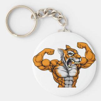 Tiger Mascot Basic Round Button Key Ring