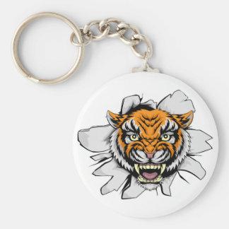 Tiger mascot ripping through basic round button key ring