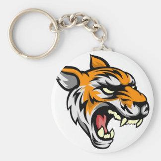Tiger Mean Animal Mascot Basic Round Button Key Ring