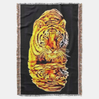 Tiger Mirror Art Nouveau Throw Blanket