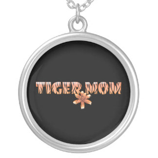 Tiger Mom with Tiger Lily Silver Plated Necklace