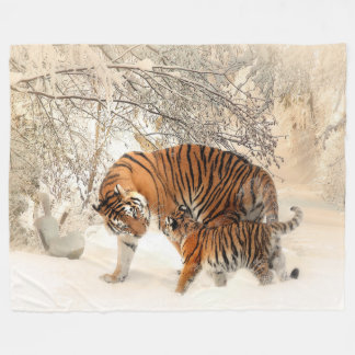 Tiger Mother and Cub Custom Fleece Blanket, Large
