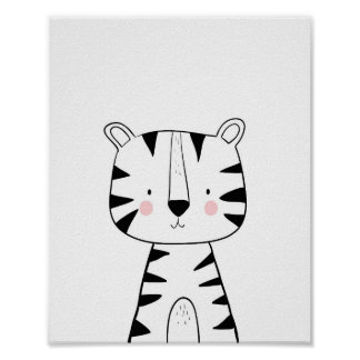 Tiger Nursery Print Black and white modern zoo