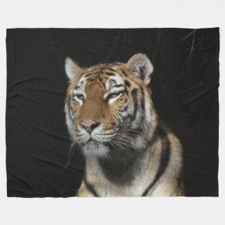 Tiger On Black Fleece Blanket