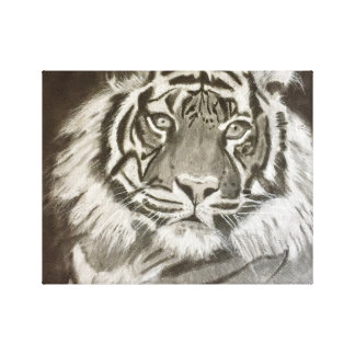 Tiger on canvas canvas print