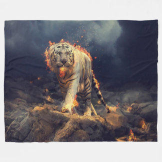 TIGER ON FIRE FLEECE BLANKET