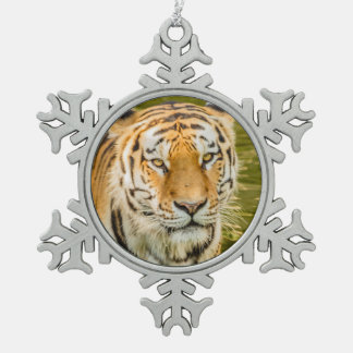 tiger  on Pewter Snowflake Ornament