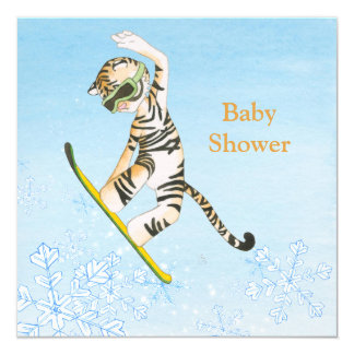 Tiger on Snowboard Baby Shower invitation card