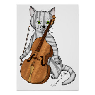 Tiger on the Cello Poster