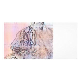tiger outline with different colours n light lines personalized photo card