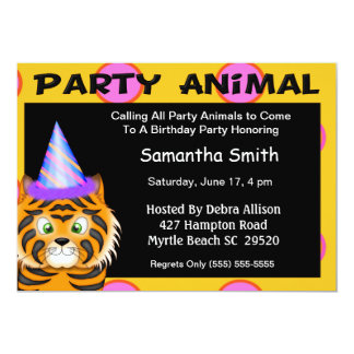 Tiger Party Animal  Invitation