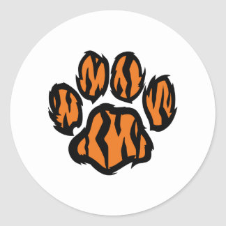 TIGER PAW PRINT ROUND STICKER