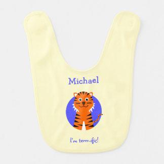 Tiger personalized blue cream bibs