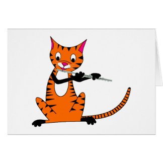 Tiger Playing the Flute Greeting Card