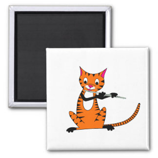 Tiger Playing the Flute Square Magnet