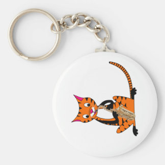 Tiger Playing the Saxophone Keychains