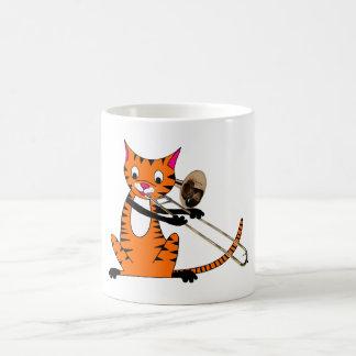 Tiger Playing the Trombone Basic White Mug