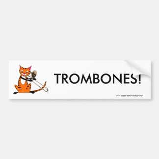 Tiger Playing the Trombone Bumper Sticker